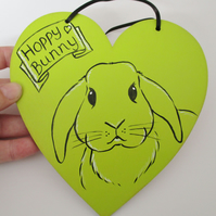 SALE Bunny Rabbit Decorative Hand Painted Heart Lime Green Hoppy Bunny