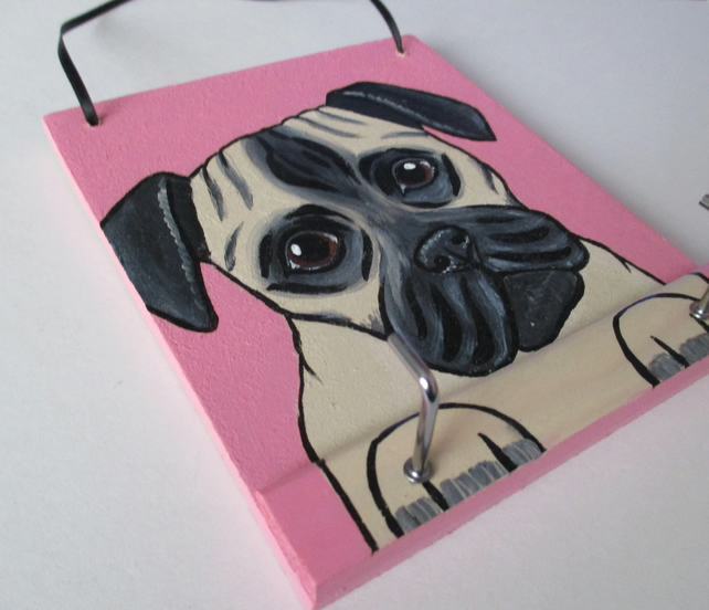 Pug Dog Lead Holder with 2 Hooks Painted Picture Doggy Lover Gift