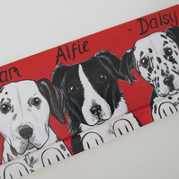 Lead Hanger for Dog Collar and lead - Hand Painted Pet Portrait Personalised L