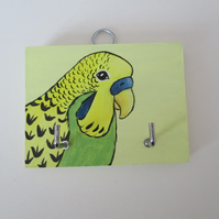 SALE Budgie Budgerigar Key Holder Rack Original Painting Bird Gift Yellow