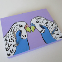 Budgie Budgerigar Key Holder Rack Original Painting Bird Gift