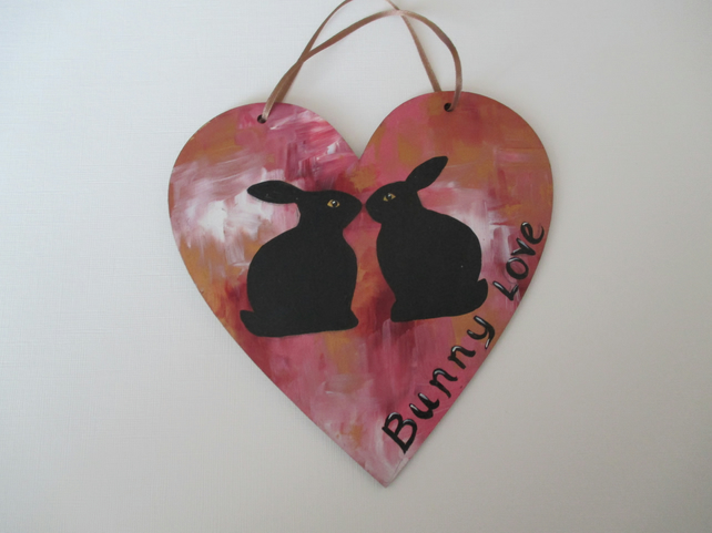 Rabbit Wooden Heart Hanging Decoration Bunny Love Text Valentines Gift