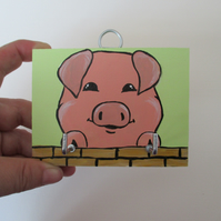 Pink Pig Piggy Key Rack Holder Original Painting Piglet Picture Art