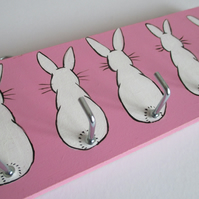 Pink and White  Bunny Rabbit Key Holder Hook Rack Original Painting