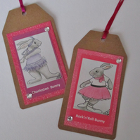 2x Gift Tag Rabbit Picture Rock and Roll Dancer and Charleston Bunny Characters