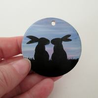 Hand Painted Wooden Bunny Rabbit Silhouette Wood Wooden Pendant Disc