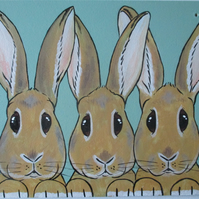 Bunny Rabbit Original Painting on Wood Hanging Decoration Picture Art