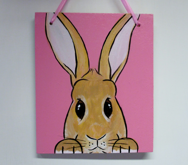 Giant Bunny Rabbit Original Painting Picture Art Hanging Decoration