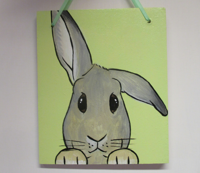 Helicopter Ears Bunny Rabbit Original Painting Picture Art Hanging Decoration