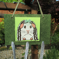 Guinea Pig Hair Clip Slide Holder Organiser Original Painting Green