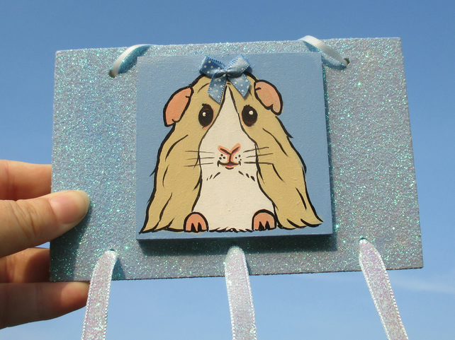 Guinea Pig Hair Clip Slide Holder Organiser Original Painting Blue
