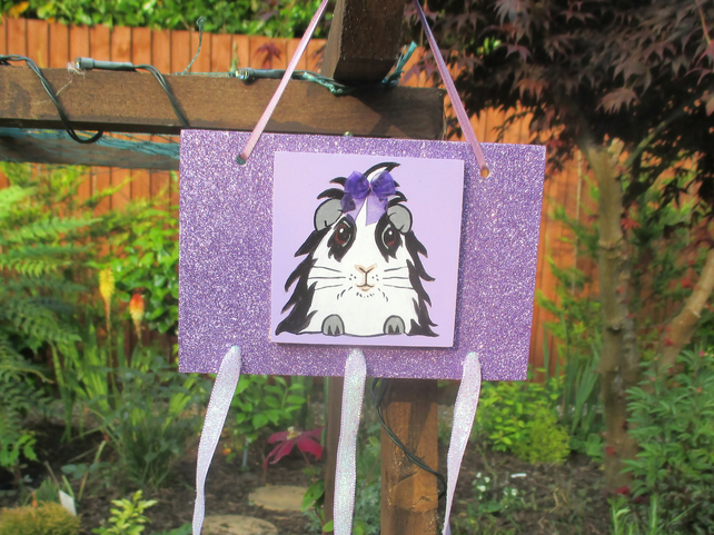 Guinea Pig Hair Clip Slide Holder Organiser Original Painting Lilac Bow
