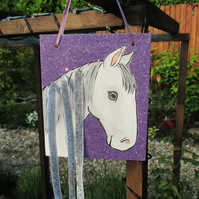 Pony Horse Hair Clip Holder Organiser Original Art Painting Picture OOAK Gift