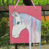 Unicorn Hair Clip Holder Organiser Original Art Painting Picture OOAK Gift