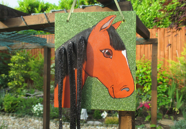 Horse Pony Hair Clip Holder Organiser Original Art Painting Picture Gift