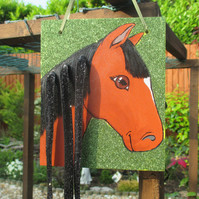 SALE Horse Pony Hair Clip Holder Organiser Original Art Painting Picture Gift