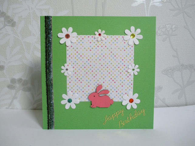 Bunny Rabbit Birthday Greetings Card Happy Birthday White Green Flowers Floral