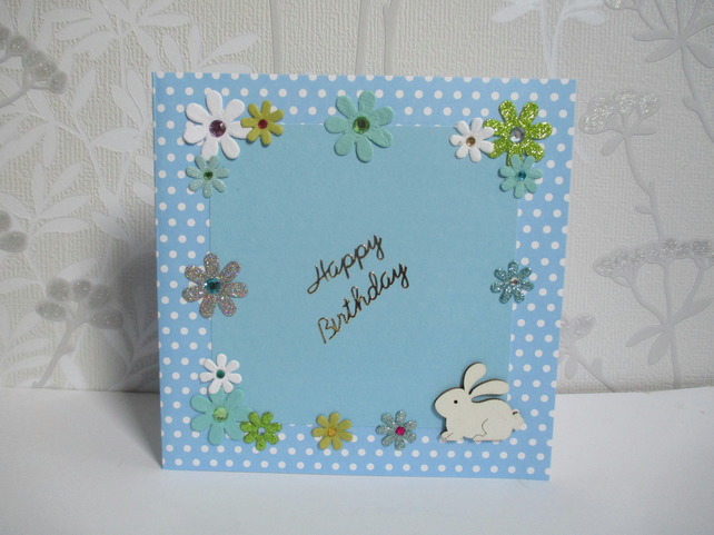 Bunny Rabbit Happy Birthday Greetings Card White Green Blue Flowers Floral