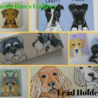 Medium Lead Hanger Dog Collar and lead Hand Painted Pet Portrait Personalised