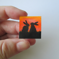 Dolls House Miniature Original Painting Bunny Silhouette Sunset Art Rabbit