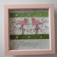 SALE Flamingo Box Frame Mixed Media Picture Sparkly Glittery Pink Green Collage