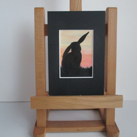ACEO painting Bunny Rabbit Silhouette original art in mount and ready to frame