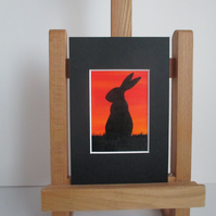 ACEO painting Bunny Rabbit Silhouette original art mounted ready to frame orange