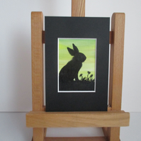 Bunny Rabbit ACEO painting Silhouette original art mounted ready to frame green