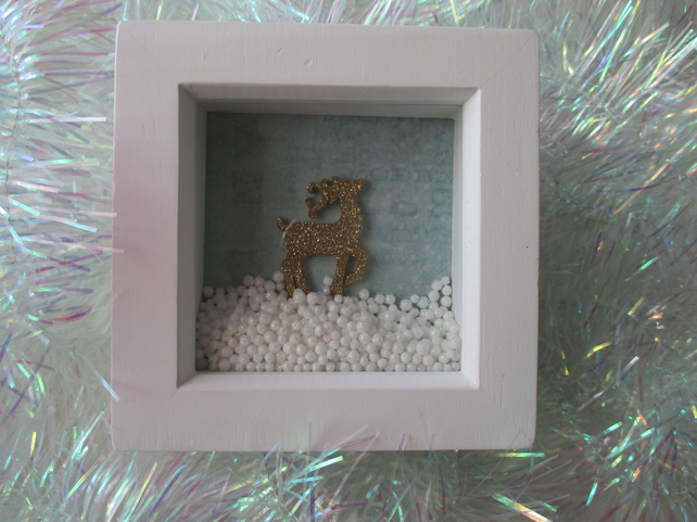 Stag Deer Box Frame Christmas Decoration Snow Scene Gold Glitter and Snowballs