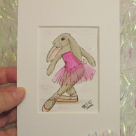 Bunny ACEO Ballet Dancing Bunny Rabbit Original Miniature Painting Ballet Dance