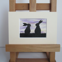 Bunny Rabbit ACEO painting Silhouette original art mounted ready to frame white