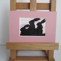 Bunny Rabbit ACEO painting Silhouette original art mounted ready to frame pink