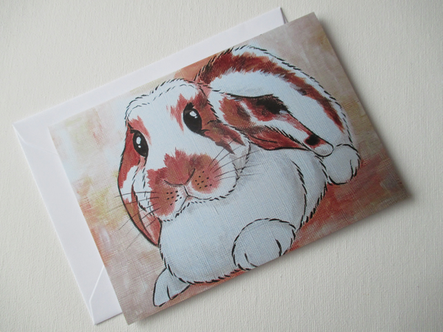 Bunny Rabbit Blank Greetings Card Lop Eared Bunny Picture