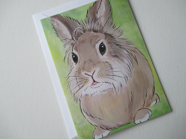 Bunny Rabbit Blank Greetings Card Lionhead Bunny Picture