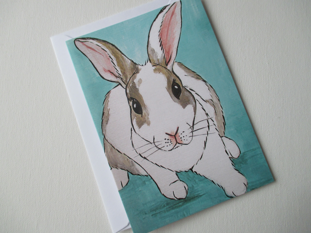 Bunny Rabbit Blank Greetings Card Bunny Picture from Painting