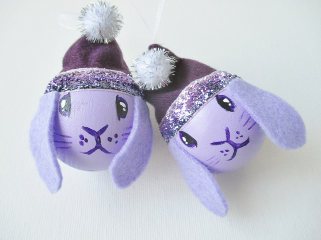 Bunny Rabbit Christmas Bauble Tree Decoration Lilac Purple Lop Eared Xmas