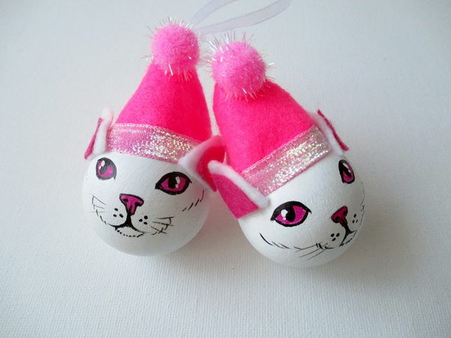 Cat Christmas Bauble Tree Decoration Pink White Kitten Pussy Xmas x2