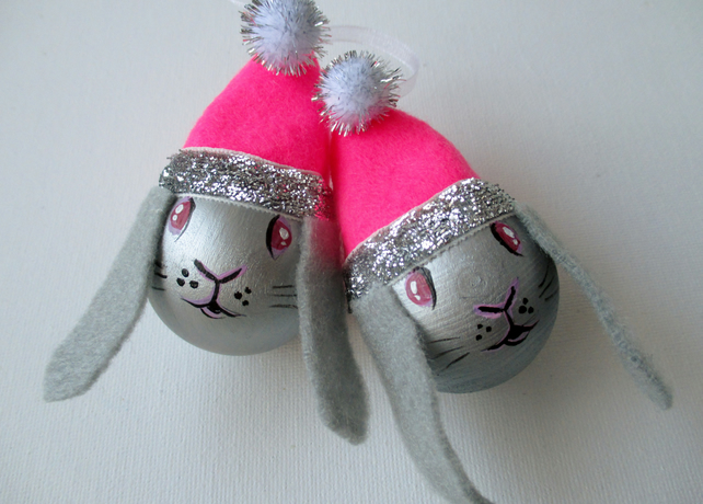 Bunny Rabbit Christmas Bauble Tree Decoration Pink Silver Lop Eared Xmas
