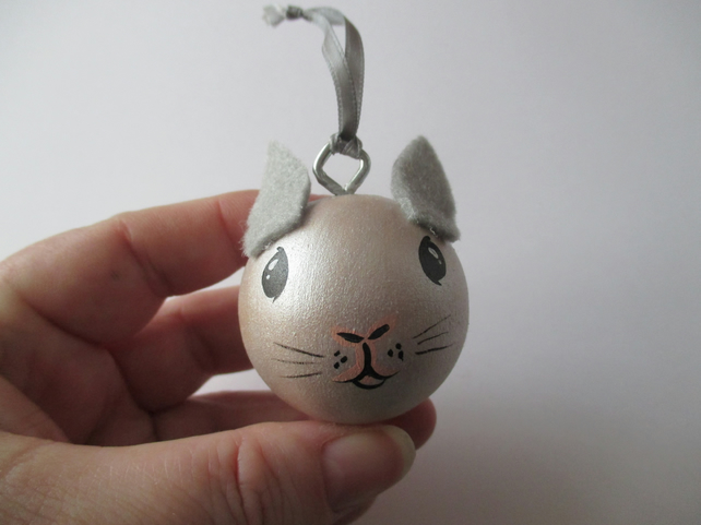 Bunny Rabbit Christmas Bauble Tree Decoration Silver Xmas Hand Painted Wooden