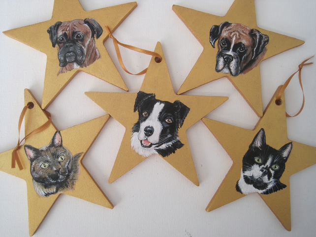 Personalised Pet Star Miniature Portrait Painting Christmas Tree Decoration Dog