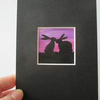 Bunny Rabbit Mini Miniature Original Painting Silhouette Affordable Art Picture