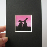Bunny Rabbit Mini Miniature Original Painting Silhouette Art Picture Pink