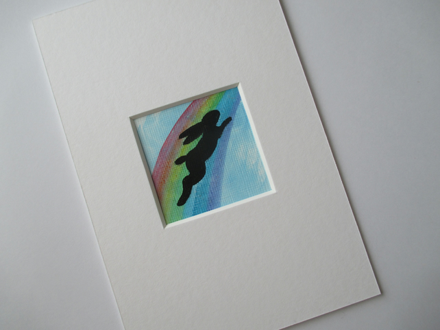 Bunny Rabbit Rainbow Bridge Memorial Painting Original Art Picture Silhouette