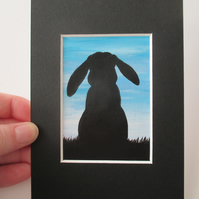 ACEO lop bunny rabbit silhouette sky original miniature art painting picture