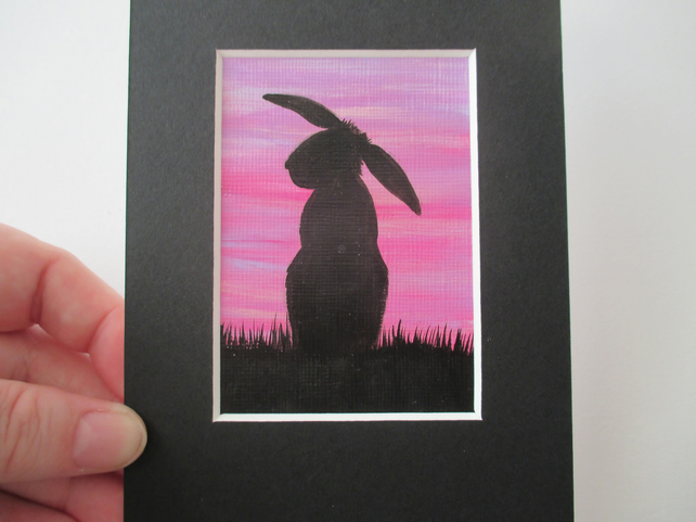 ACEO bunny rabbit silhouette purple sky original miniature art painting picture