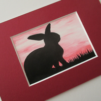 Bunny Rabbit ACEO Original Miniature Painting Picture Art Mounted