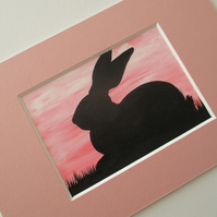 Bunny Rabbit ACEO Original Miniature Art Picture Painting Mounted