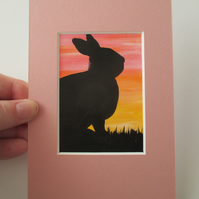 ACEO Rabbit Bunny Original Painting Picture Mount Mounted Art Sunrise Sunset