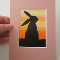 Bunny Rabbit ACEO Original Art Picture Painting Mounted