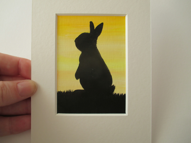ACEO Rabbit aceo original bunny art picture painting silhouette black